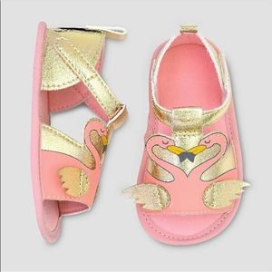 Baby Girl Sandals Pink Gold Flamingo